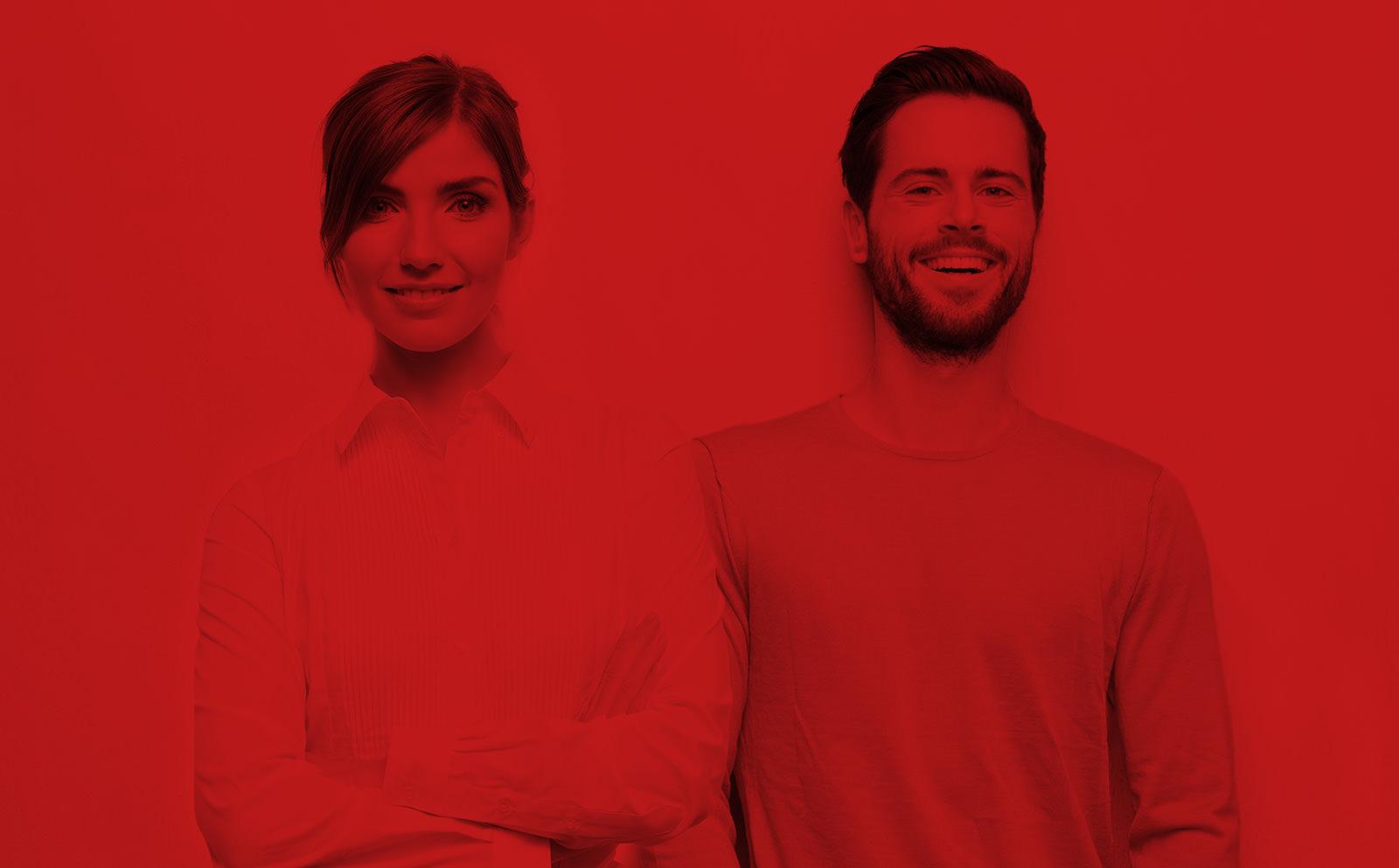 Foto rot gefärbt zwei Personen