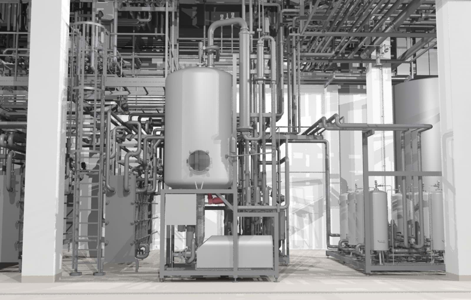 3D-Modell, Filtration, Entgaser, Erhitzer
