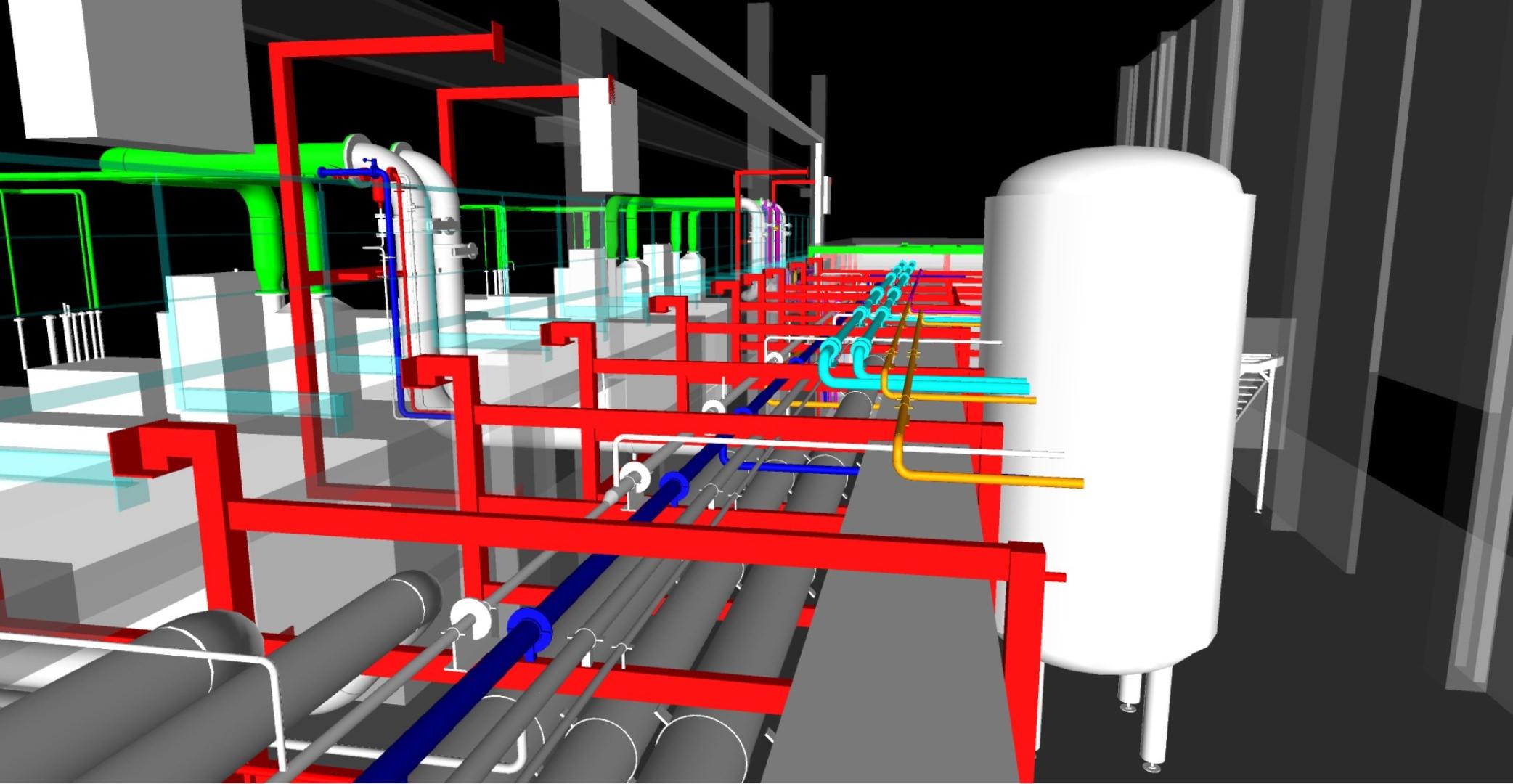 3D-Konstruktion Verrohrung und Behälter