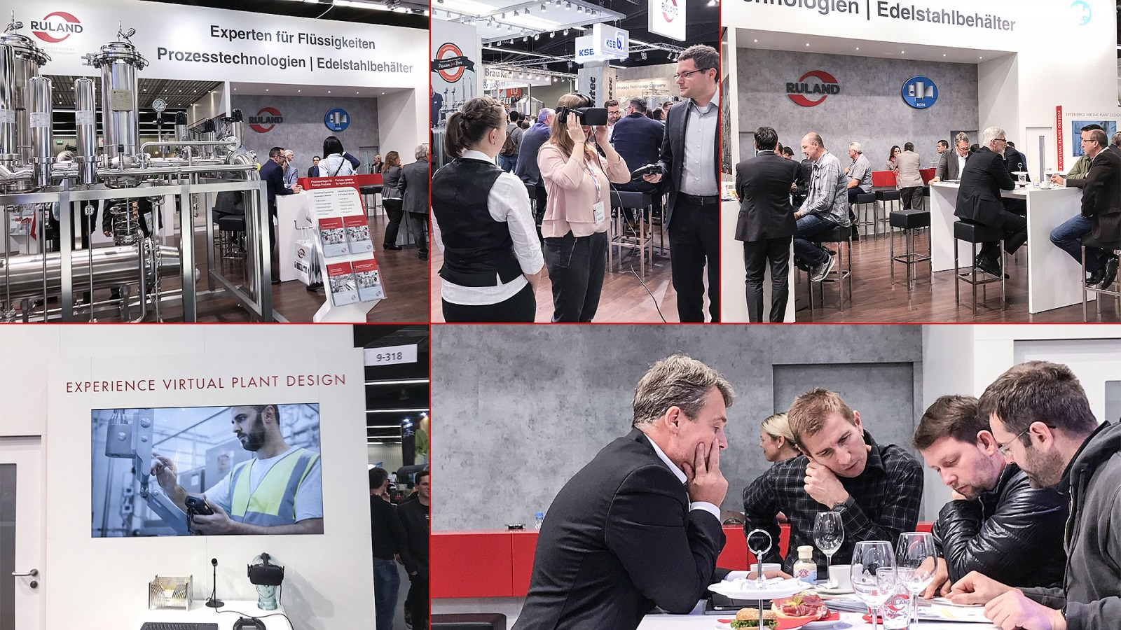 row of photos giving impression of the Ruland booth at BrauBeviale 2018