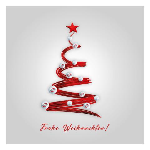 Grafik roter Tannenbaum mit Ruland-Christbaumkugeln und Text